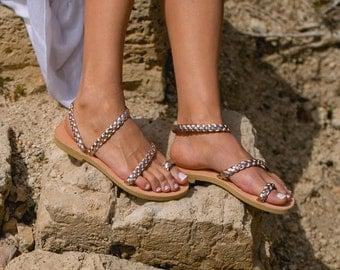 Greek Leather sandals,Women sandals,Braid sandals,Rose gold sandals,Women shoes,Triskelion,Wedding sandals,ALCESTIS,