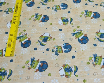 Jingle Bell Snowmen-All Over Beige Cotton Fabric from Wilmington Prints
