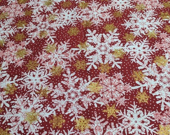Magic of Winter-White and Gold Snowflakes on Red Cotton Fabric from In the Beginning Fabrics