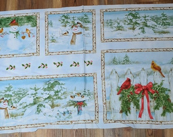 A Winter Song-Cardinal and Snowman Panel-Cotton Fabric from Jane's Garden for Henry Glass