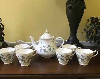 Vintage Royal Stuart Six Teacups and Teapot, Bluebells