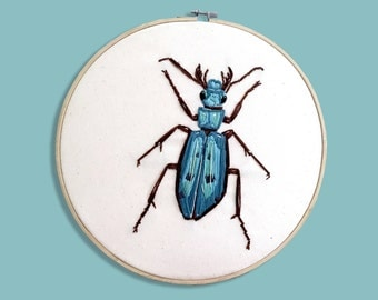 embroidery blue insect