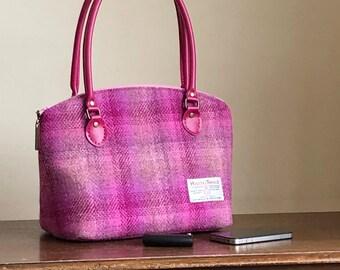 Harris Tweed handbag -  Harris Tweed purse - wool purse - wool handbag - gift for mum -  wool Anniversary gift - checked handbag