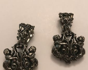 Vintage Cherub/Angel Heart Clip On Earrings