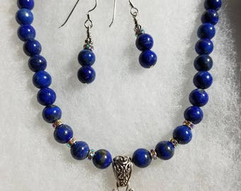 Lapis Bead Necklace Set with Irridncent Pendant