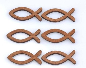 5 pcs Brown Fish Buttons, Wooden Brown Fish Button, for Scrapbooking, for Clothing, Knitting Sewing Crafts Embellishments