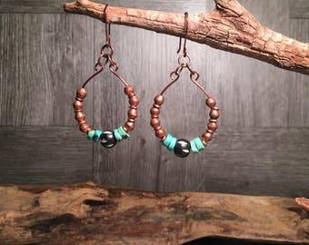 Turquoise Earrings, African Earrings, Batik Earrings, Copper Earrings, Tribal Earrings, Handmade Earrings, Southwest Earrings, Boho Earrings
