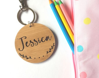 Sprigs Bag Tag / Keyring Wood Bamboo-Personalised-Custom With-stocking stuffer-kris kringle-kindergarten-key ring-personalized