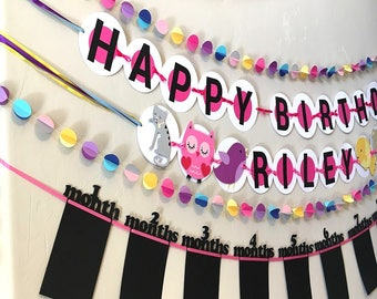 Personalized Animal Happy Birthday Banner Decorations, First Birthday |  Birthday Party Decorations | Girl Birthday Banner | Custom Banner