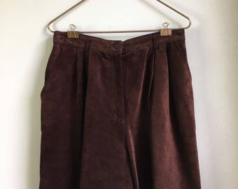 Vintage High Waist Shorts 90s Women's Leather Gaucho Pleated Front Culottes 14 L