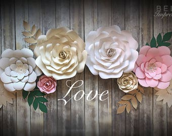 12 pcs - PAPER FLOWER BACKDROP - All flowers in image 1 - dessert table flowers - home decor - baby - Kardashian baby shower flowers - roses