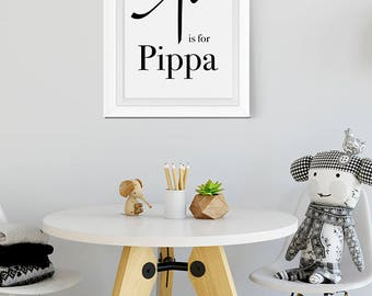 P is for, Calligraphic Baby, Pippa Name Poster, calligraphic name initial, Calligraphic Name Print, P Nursery Decor, Calligraphic Name, P
