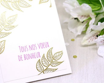Handmade Congratulations Card in French - French Félicitations Card - Congrats Wedding Card - Floral Engagement Card - Heat Embossed Cards