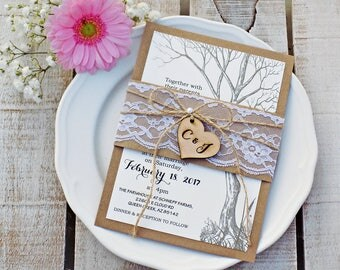 Wedding Invitation Wedding Invitations Rustic Wedding Tree Wedding Invite Wedding Invites Invitation Suite Invitation Set Tree Invitation