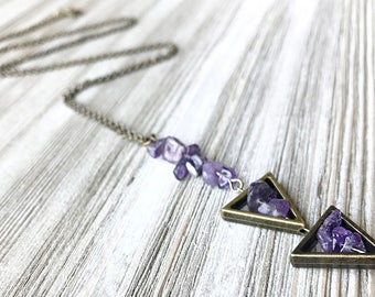 Amethyst Stone Pendant Necklace // Long Necklace // February Birthstone // Natural Stone Necklace // Tribal Necklace // Handmade Necklace