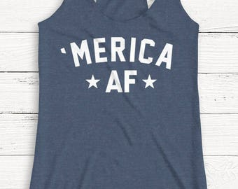America AF - 4th of July Shirt - USA - America - Independence - Muscle - Tank Top - Patriotic - Alcohol - Graphic Tee - Summer
