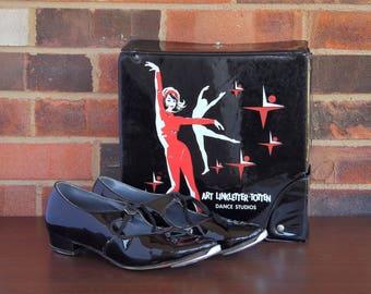 Art Linkletter-Totten Dance Studios Bag & Shoes - 1960s Vintage - Black Vinyl Dance Shoes Bag - Comes with Biltwell tap shoes - in G/VG cond