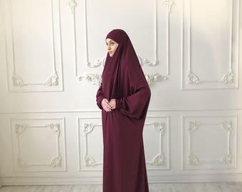 Burgundy franch jilbab, Maroon khimar , Long hijab dress, islamic gift, dubai abaya, muslim covering