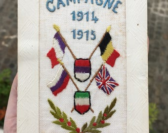 World War I Allies 1914-1915 Embroidered Post Card Patriotic Early 20th Century Traditions, Culture and Heritage