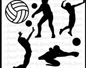 5 SVGS - 5 PNGs - Volleyball Player SVG - Volleyball SVGs - Volleyball decal - volleyball svg - volleyball cut files - sports svgs - sports