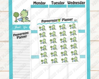 JJ watering flowers --- Planner stickers --- 651