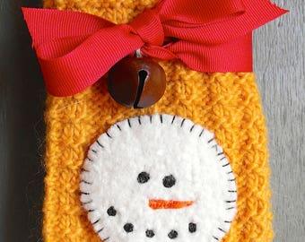 Child's Wool Snowman Scarf