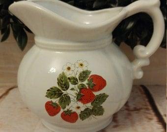 Vintage McCoy Pitcher Strawberries 7528 Farmhouse Decor Vintage Decor Strawberry Decor