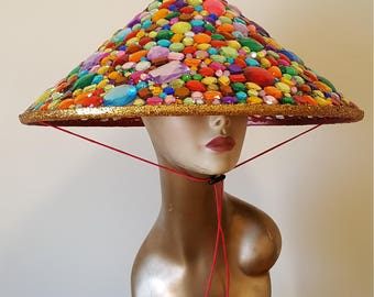 Colorful Rhinestone Gem Conical Hat, Gold Glitter Rainbow Jewel Bamboo Hat, Bejeweled Coolie Hat, Burning Man Hat, Festival Hat