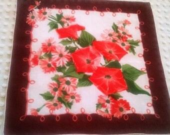 Charming Vintage Floral Hankie Handkerchief Brown Burnt Sienna Orange Morning Glory Trumpet Flowers Hanky Tears of Joy Shabby Cottage Chic