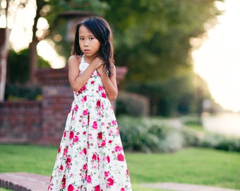 Girls Bohemian Floral Maxi Dress, Pink Red Tea Party Princess Dress, Girl Toddler Boho Rose Print Dress, Shabby Chic Spring Summer Dress