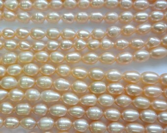 Natural Peach Cultured Pearls, Freshwater Pearl 4-5mm Rice Beads