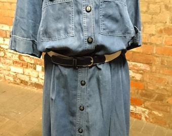 Vintage 80's denim dress by Schneberger, vintage belted denim maxi dress