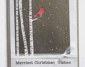 Cardinal Christmas Card - Cardinal in Birch Trees Card - Silver Christmas Card- Cardinal Holiday Card - Red Bird Christmas Card - Birch Tree