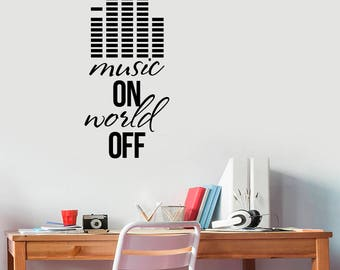 Music Inspirational Quote Wall Decal Vinyl Lettering Equalizer Sticker Lifestyle Saying Art Decorations for Home Room Bedroom Decor mn4