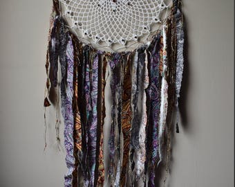 Dream catcher size XL and colorful fabric scraps