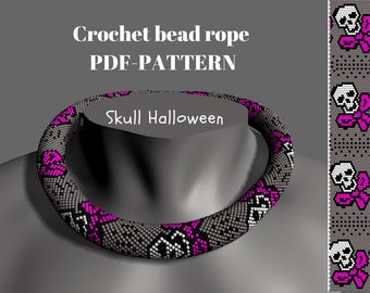 Beaded rope pattern - Skull Halloween. Bead Crochet Necklace, PDF tutorial, Crochet rope scheme, Bead crochet rope pattern, for  bracelet
