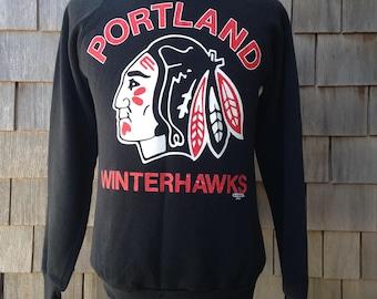 Vintage 80s PORTLAND WINTERHAWKS Sweatshirt - Small - Western Hockey League