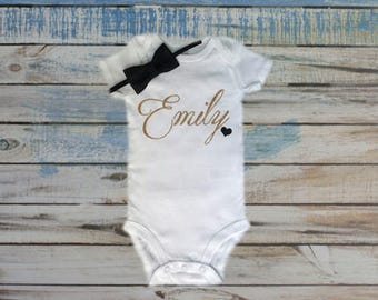 Personalized name bodysuit, baby name bodysuit, personalized baby girl name, baby girl bodysuit, baby shower gift, take home outfit