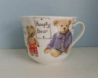My Favorite Teddies Extra large Tea cup, Roy Kirkham, Bone China, Made in England, Vintage Teddy Bear Mug, Collectible Teddy Bear Cup