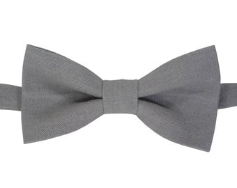 Grey Linen bow tie Mens bow tie grey bow tie wedding bow tie grooms bow tie Bow ties for men boy's bow tie toddler's bow tie adult bow tie.
