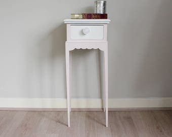 SOLD - Scalloped edge side table with drawer in light pink