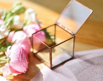 Wedding Ring Box -  Jewelry Engagement Ring Box - Jewel Newlywed Gift - Ring Bearer Box - Small Geometric Ring Proposal pillow