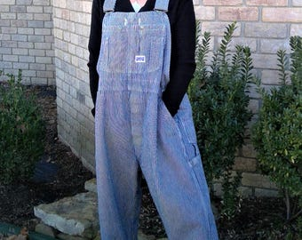 Vintage Big Smith Striped Conductor Dungaree Overalls - Size 44/28