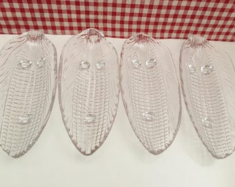 Vintage Clear Glass Corn On The Cob Holders