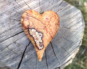 Flower Heart Pendant - wooden heart necklace, wood heart pendant, pyrography pendant, wood burned necklace, heart necklace, wood jewelry