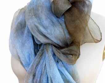 Margelan silk hand dyed blie brown 4.3 yards gauze fabric Nuno felting textile Art Lightweight natural silk felting supplies silk