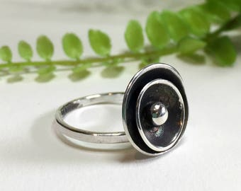 Sterling Silver Poppy Ring, Sea Anemone, Adjustable Silver Ring, Sterling Silver Ring, Silver Ball Ring, Handmade Ring, Silversmith Jewelry