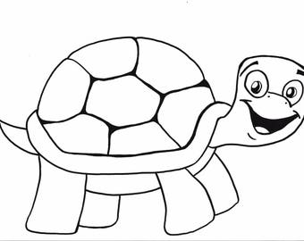 Turtle printable coloring page,turtle,printable,kids,coloring,INSTANT download, black,white,art,handmade,hand drawn, cartoon