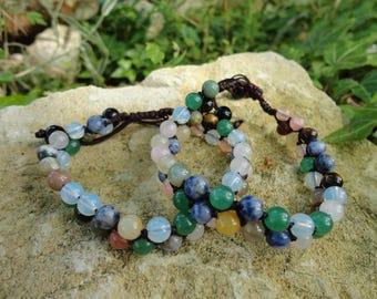 yoga multi-pierres, braided bracelet