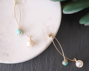 Turquoise and Pearl earrings, Turquoise earrings, Pearl earrings, Gold earrings, Invisible clip on earrings